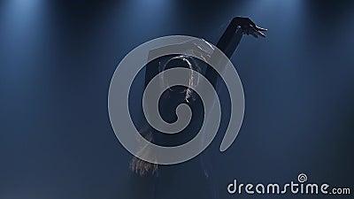 Close-up dos dançarinos de bailado diligentes que executam elementos de dança do bailado moderno Movimento lento video estoque