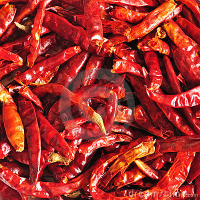 Close up of dried chilli, Thai food ingredient