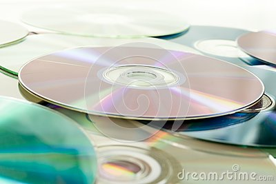 Close up of dvd discs as background