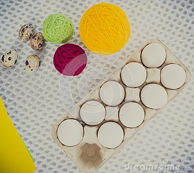 close up easter egg painting and decorating tools