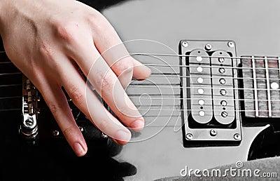 Close up of an electric guitar