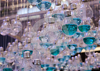 Close Up of Emerald Liquid in Light bulbs