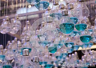 Close Up of Emerald Liquid in Light bulbs