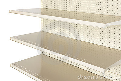 Close-up of empty retail store shelf