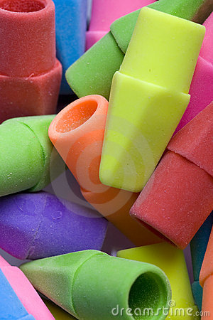 Close up of erasers.