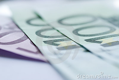Close up of euro bills