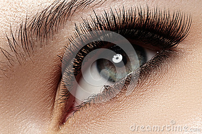 Close-up eye with fashion light natural make-up, extra long and volume eyelashes