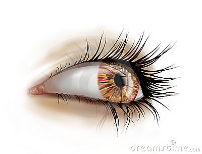 Close up of eye with long lashes