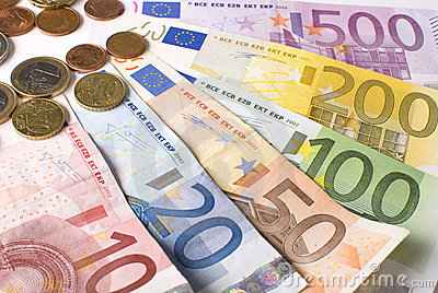 Close-up of the fan  Euro banknotes and coins.