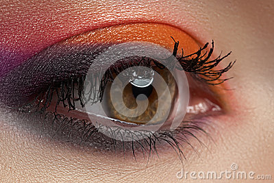 Close-up of fashion eyes make-up, bright eyeshadow