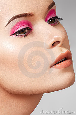 Close-up fashion woman model face, glamour make-up