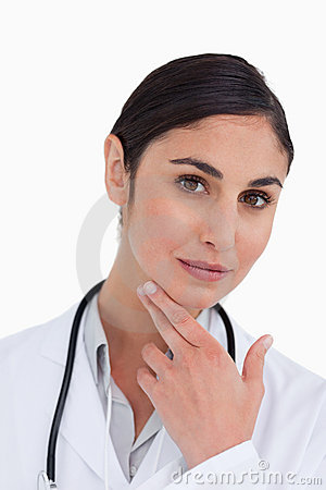 Close up of female doctor in thinkers pose