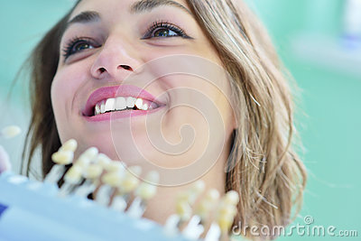 Close-up of female with open mouth during oral checkup at the dentist. Stock Photo
