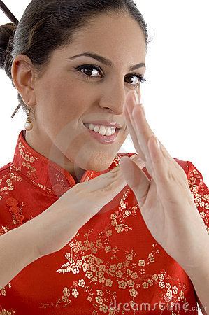 Close up of female showing karate gesture