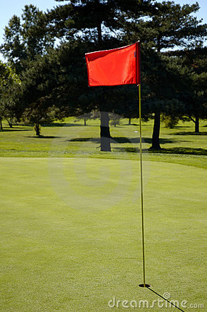 Close up Flag on the Green