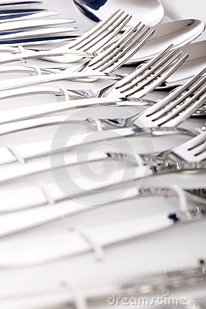 Close up of flatware isolated