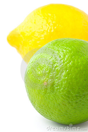 Close up of fresh lime and lemon isolated on white