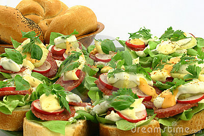 Close up at fresh sandwiches