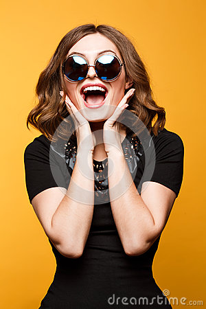 Free Close-up Funny Image Of Laughing Woman,emotional Crazy Smiling Beautiful Teen Girl Stock Images - 68101404