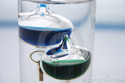 Close-up of an Galileo thermometer