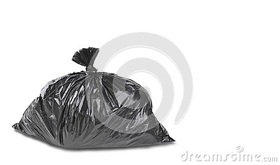 A close up of a garbage trash bag