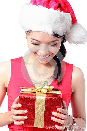 Close up of girl happy look Christmas gift