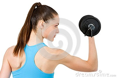 Close up of girl lifting weight.