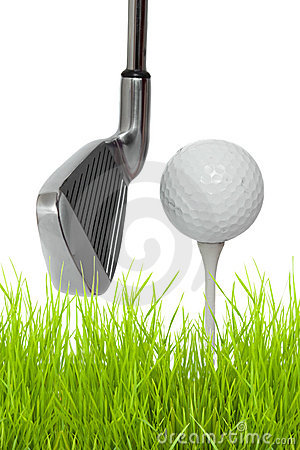 Close up of a golf club with ball and tee