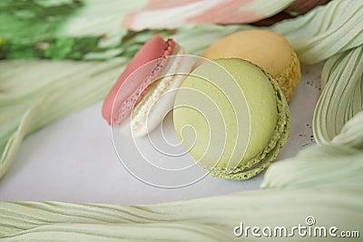 Close up green macaron