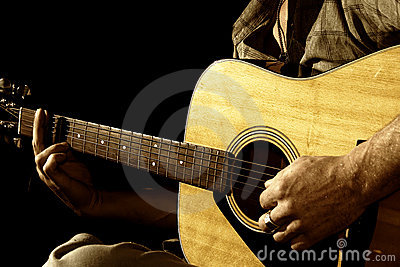Close up guitar in hands