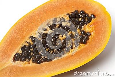 Close up of half papaya fruit