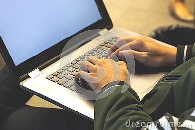 close up of hands of business man.working on laptop Stock Photo
