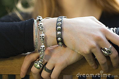 Close-up of Hands with Jewelry