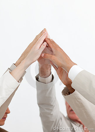 Close-up of hands up showing positivity