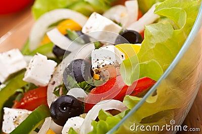 Close up healthy greek salad