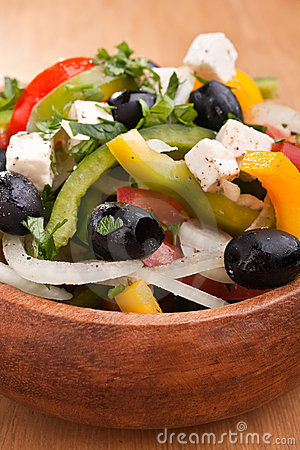 Close up healthy greek salad