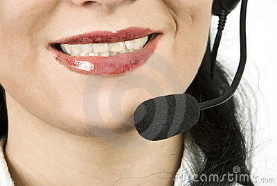 Close up helpdesk agent with headset