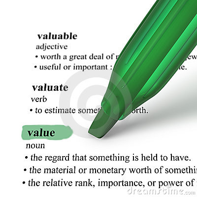 Close up of highlighter pen and word Value