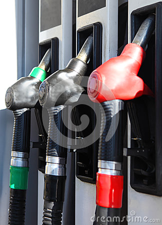 Close-up of hoses in a service station