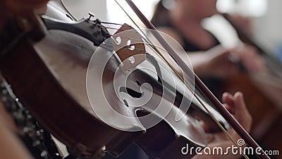 Close-up houten viool met fiddle-boog, musicusspelen in het orkest stock footage