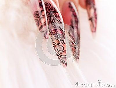 Close-up human fingernail with beautiful manicure