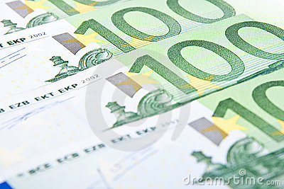 Close-up hundred euro banknotes