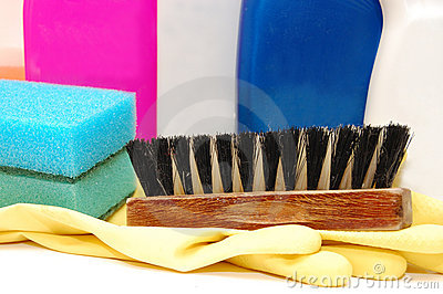 Close up of hygiene cleaners for housework