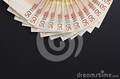 A close-up image of 50 euro money bank notes