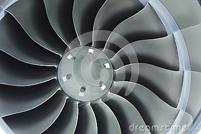 Close Up Image Of Business Aircraft Jet Engine Inlet Fan