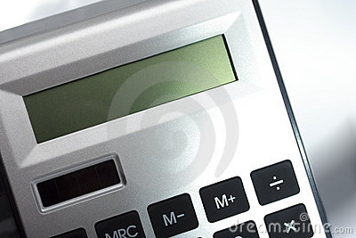 Close up image of calculator with screen