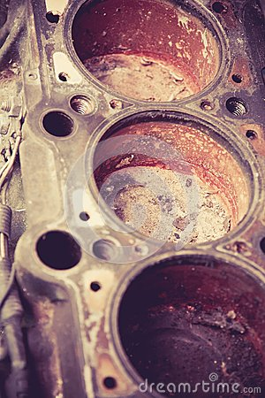 Old automobile cylinder block