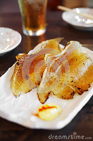 Close up japanese smoked fish grilled