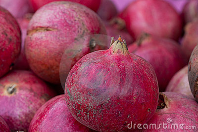 Close up of juicy pomegranates