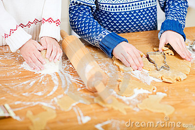 Close up of kids baking